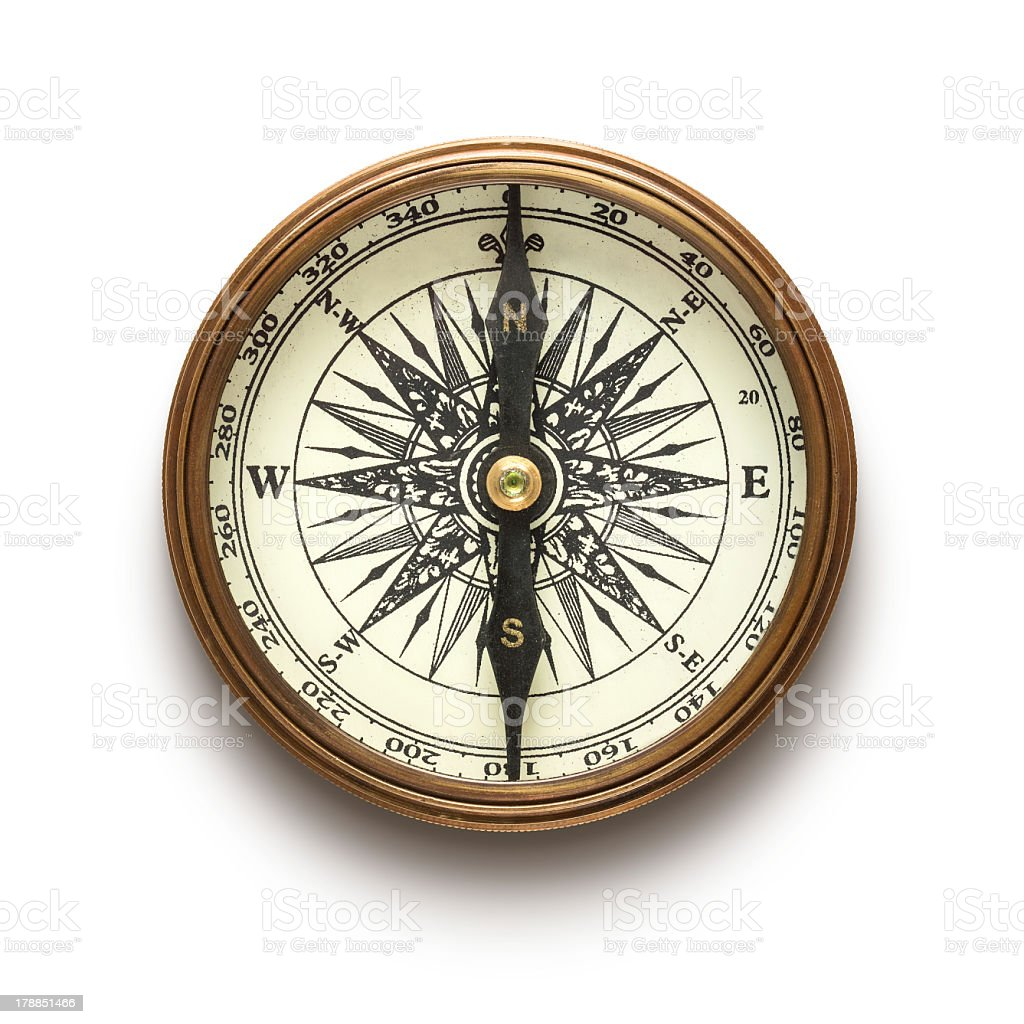 A vintage compass on a white background stock photo