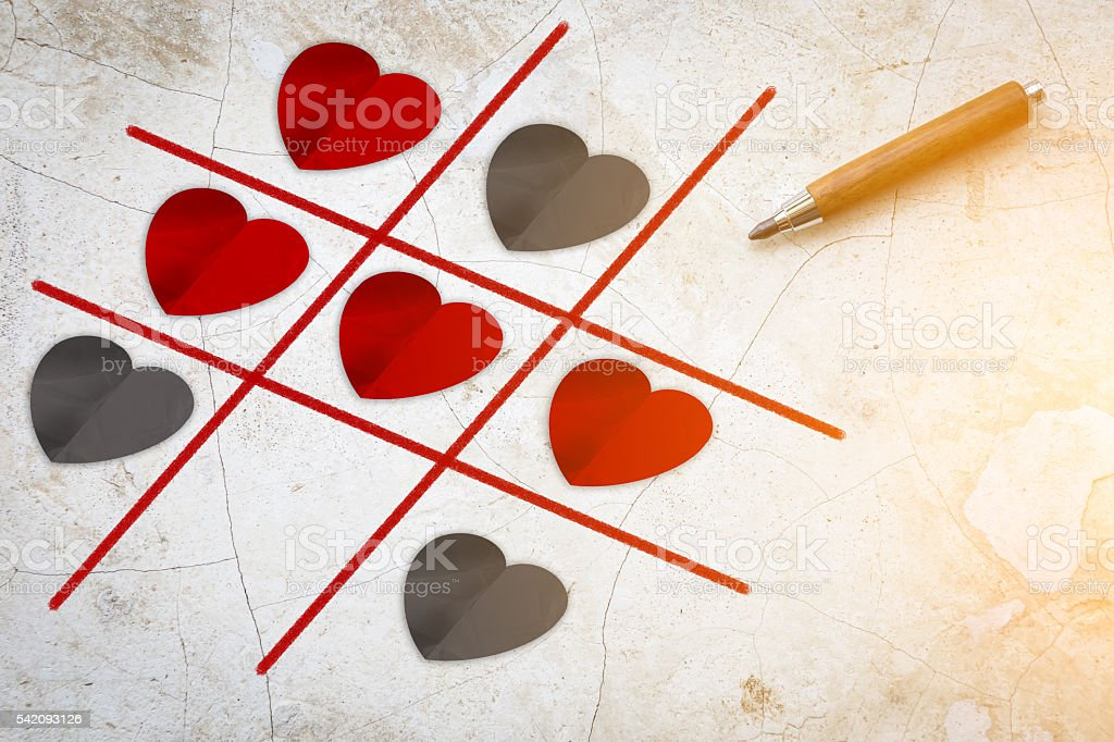 Vintage concrete with Tic Tac Toe Game Competition XO Win stock photo