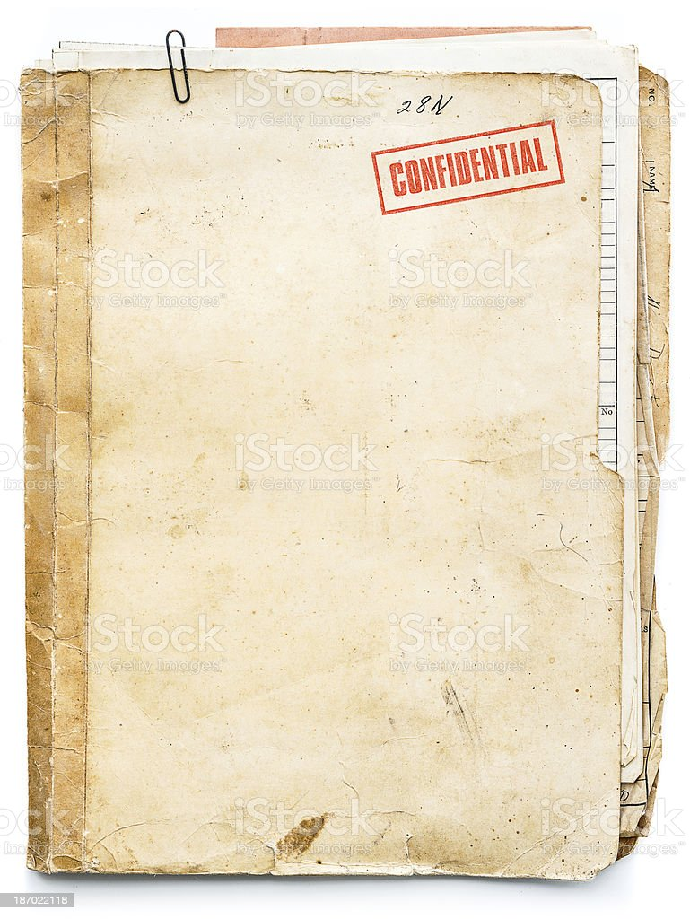 vintage confidential file stock photo