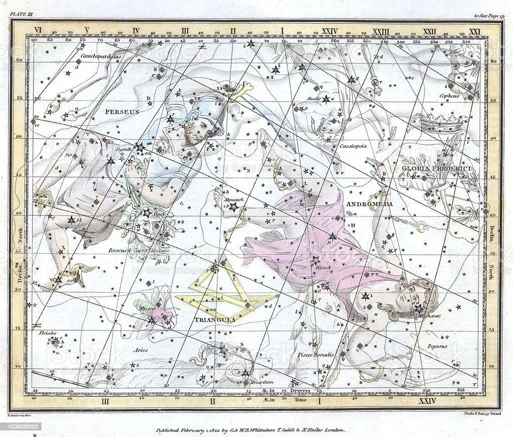 Vintage constellation map. stock photo