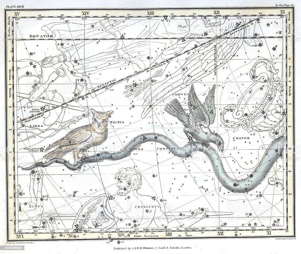 Vintage constellation map stock photo