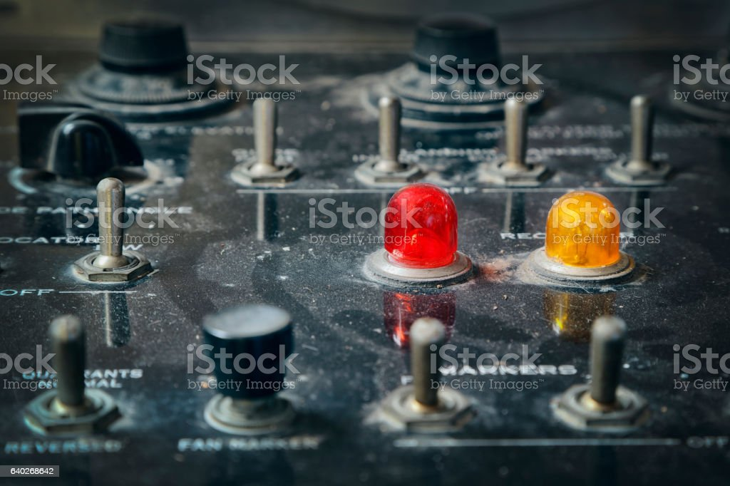 Vintage Control Panel with Switches and Indicators stock photo