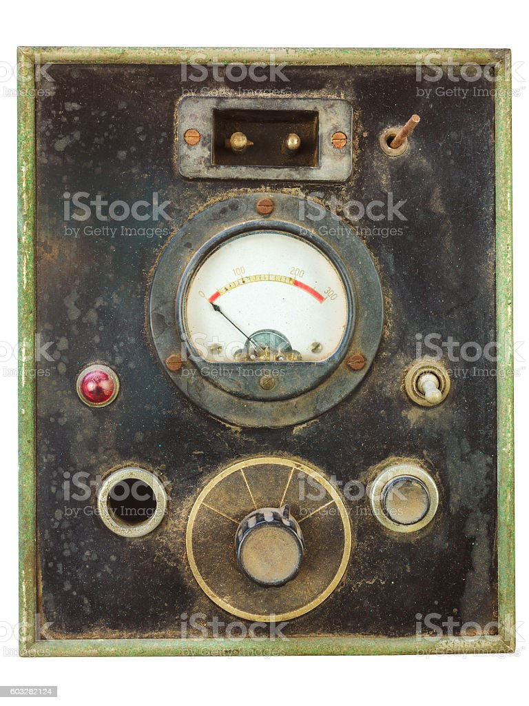 Vintage control panel with volt meter stock photo