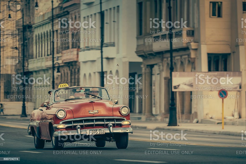 Vintage convertible on Malecon stock photo