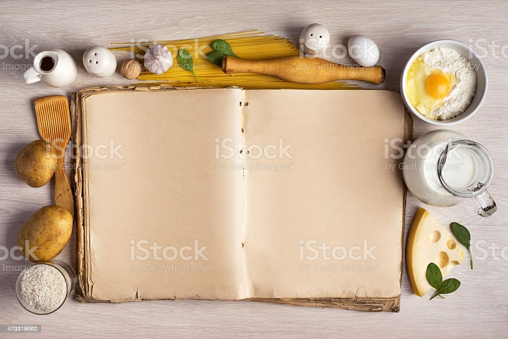 vintage cook book and ingredients for the food recipe stock photo