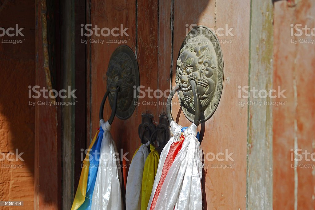 Vintage Copper Lion Doorbell royalty-free stock photo