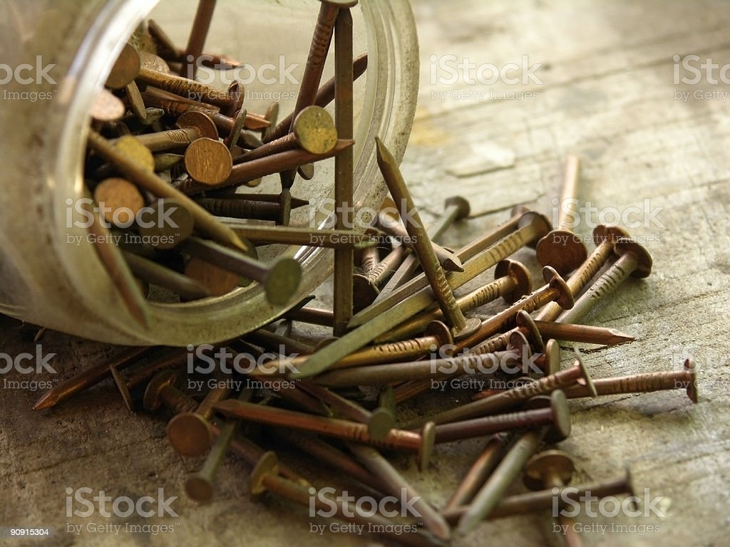Vintage copper nails royalty-free stock photo