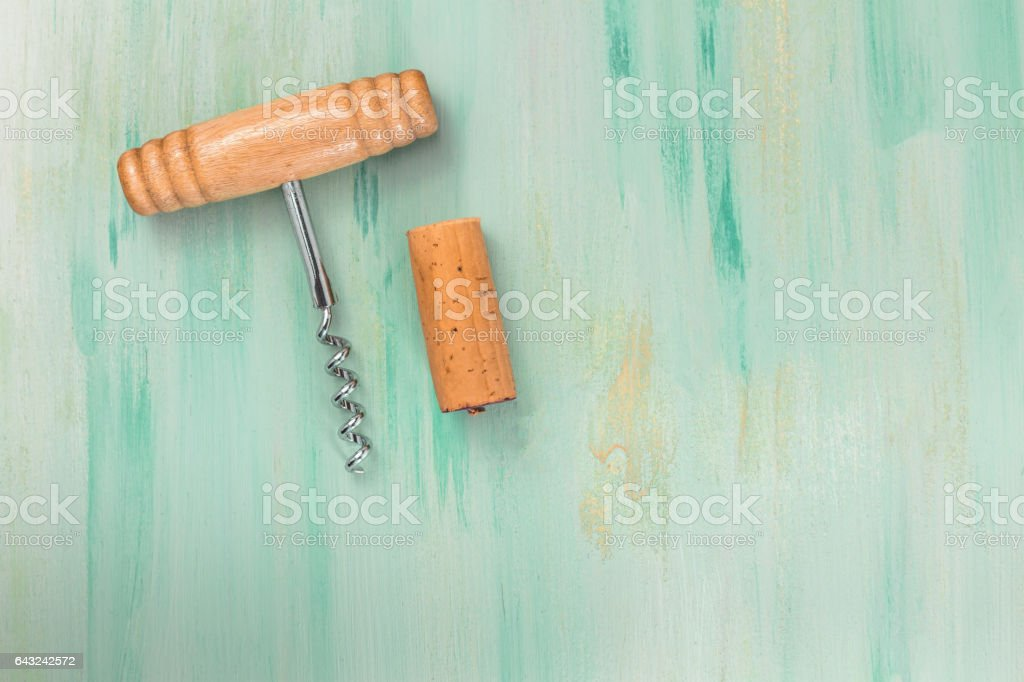 Vintage cork and corkscrew with copyspace stock photo