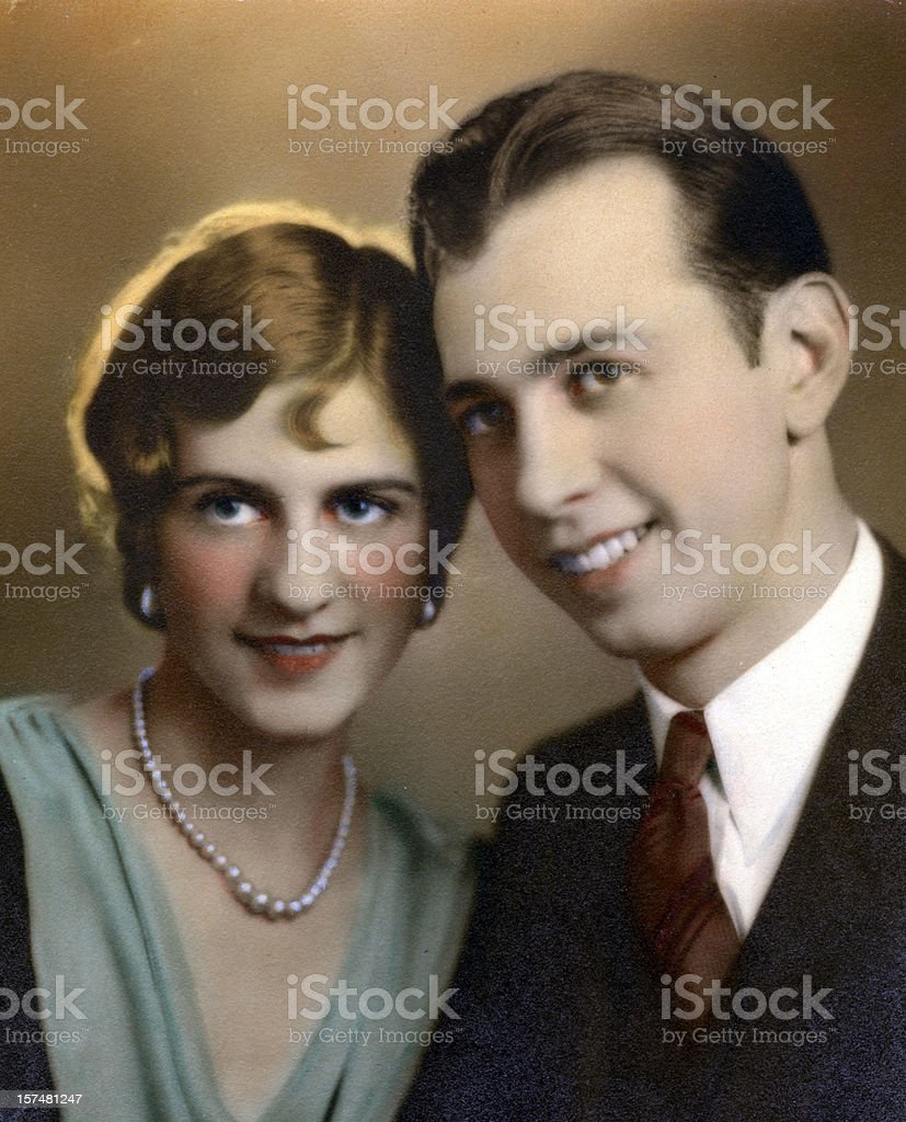 Vintage couple   View images from same session royalty-free stock photo