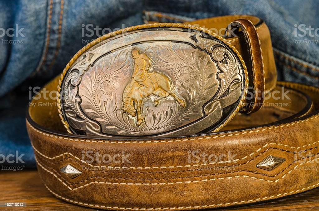 Vintage Cowboy Belt Buckle stock photo