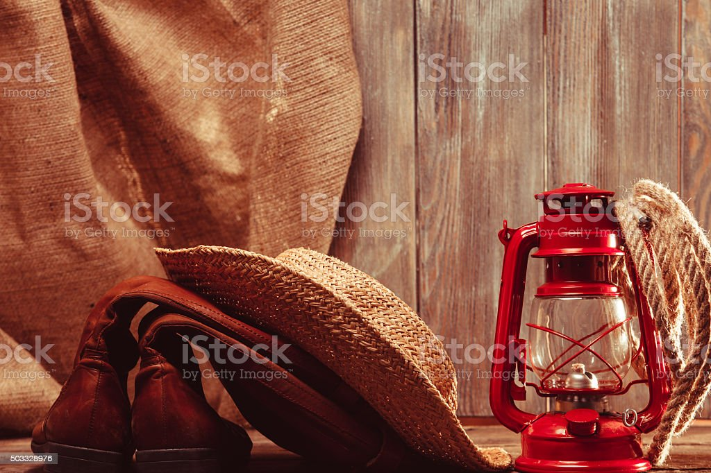 Vintage cowboy tools stock photo