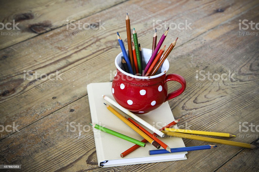 vintage crayons in the red cup royalty-free stock photo