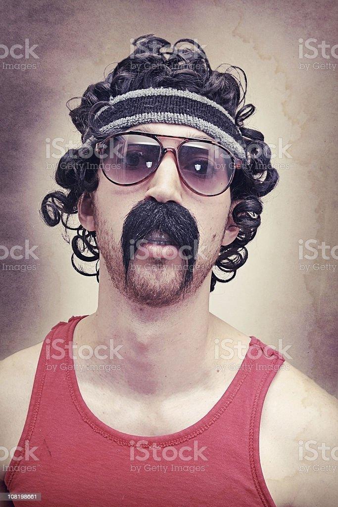 Vintage Crazy Biker Athlete 1980's Guy stock photo