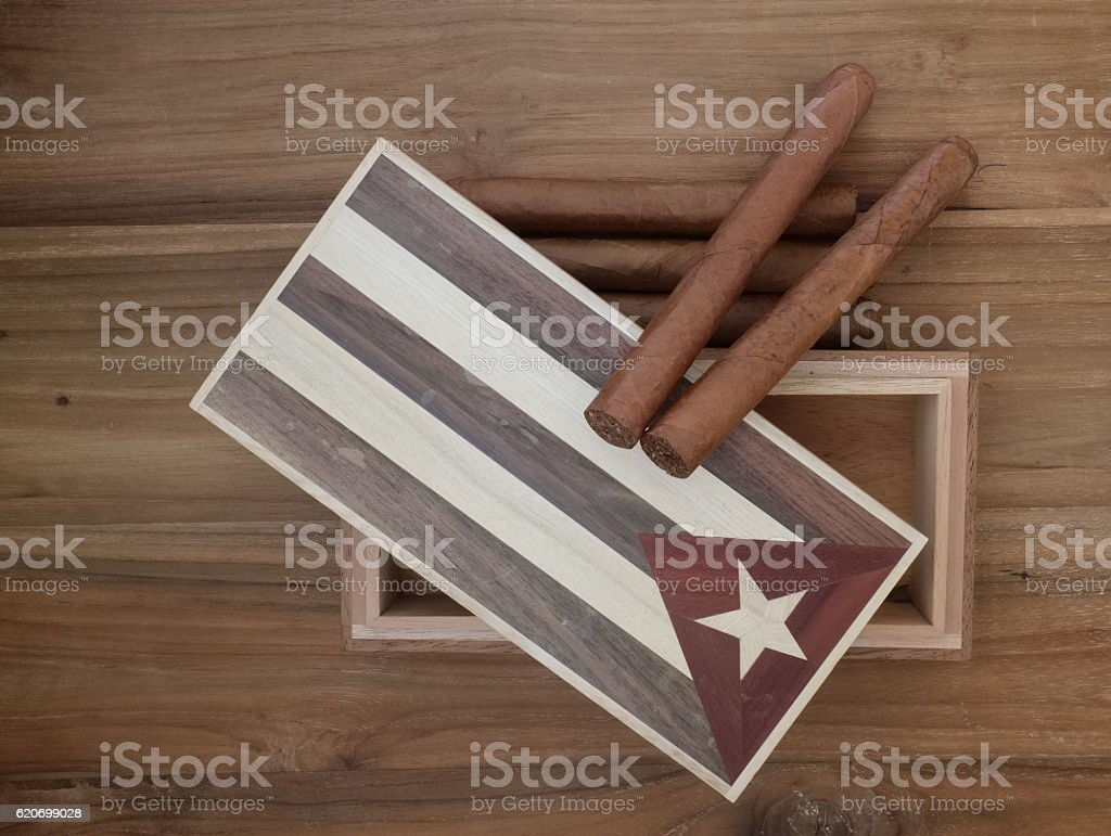 Vintage cuban cigar box with cigars stock photo