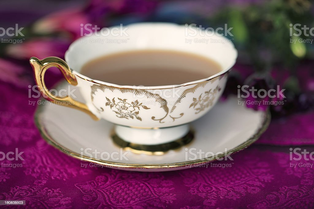 Vintage cup of tea royalty-free stock photo
