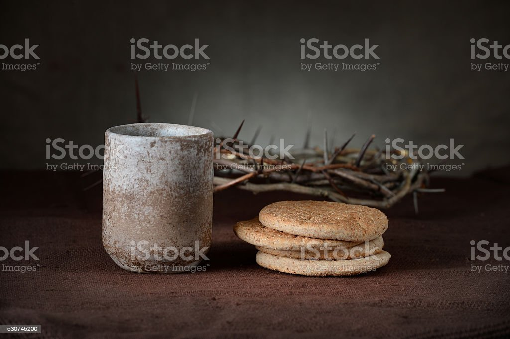 Vintage Cup of Wine with BRead and Crown of Thorns stock photo