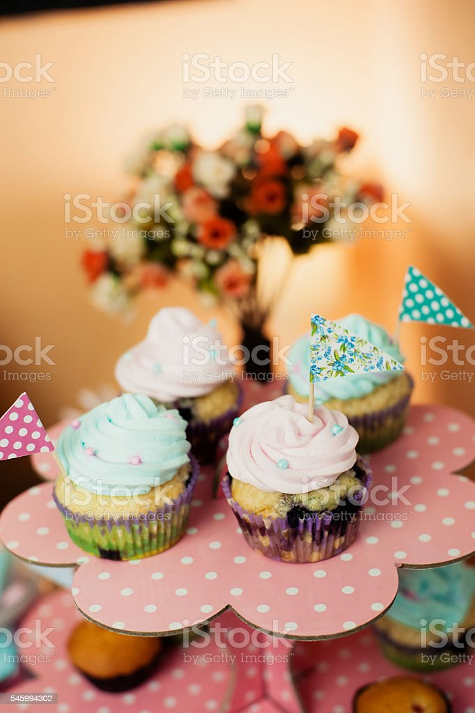 Vintage Cupcakes on a stand stock photo