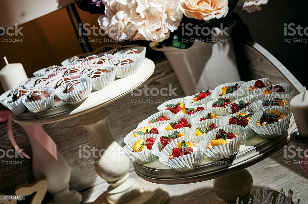Vintage cupcakes weding stock photo