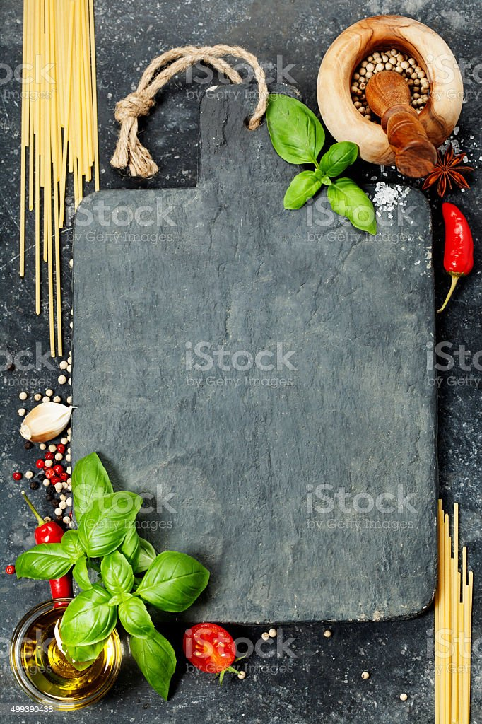vintage cutting board and fresh ingredients stock photo