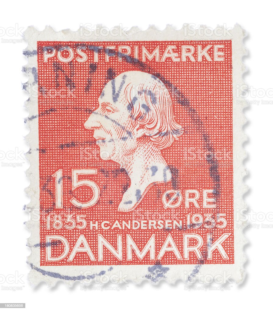 Vintage Danish stamp - Hans Christian Andersen royalty-free stock photo