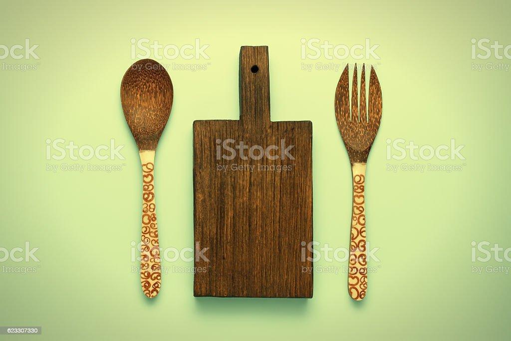 Vintage dark wooden cutting block stock photo