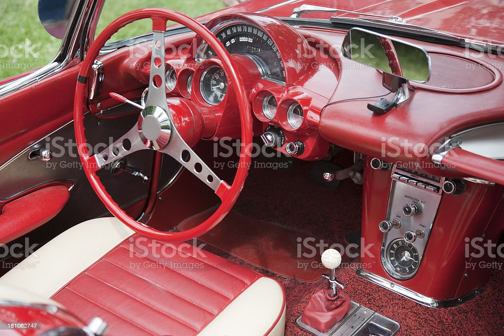 Vintage dashboard of a Corvette royalty-free stock photo