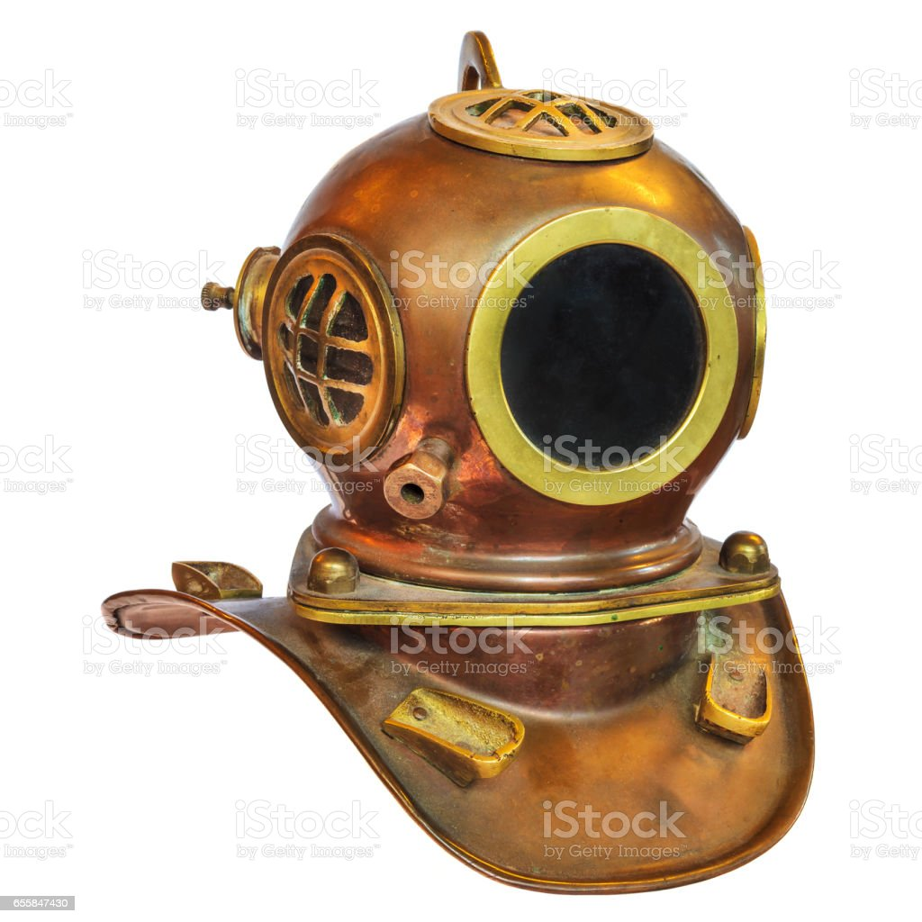 Vintage deep sea diving helmet isolated on white stock photo