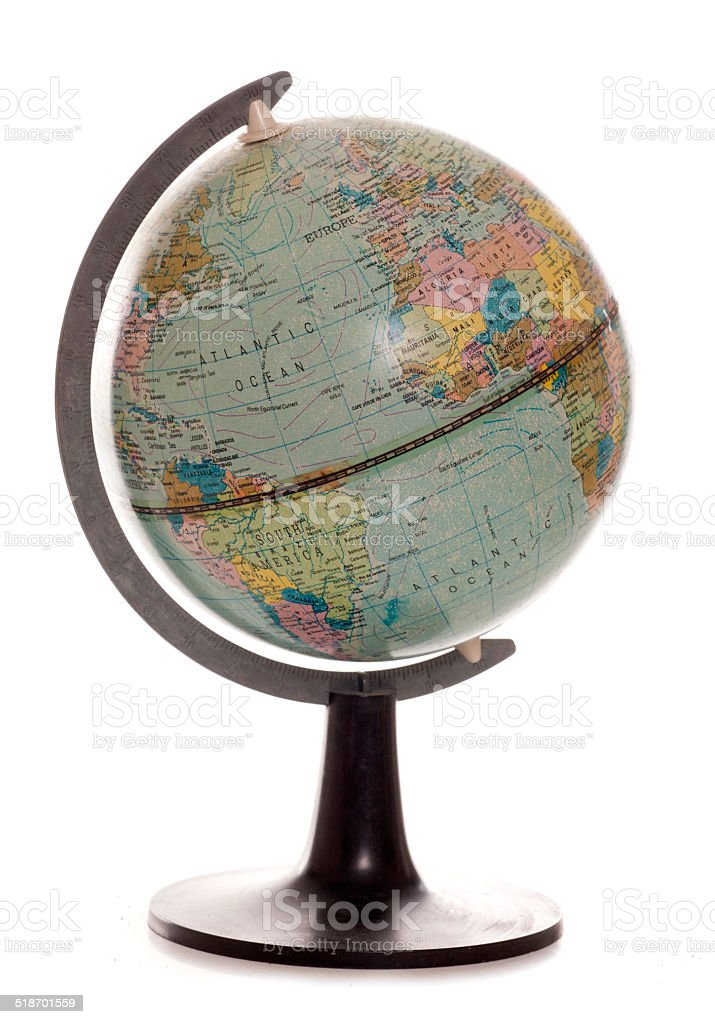 vintage desk globe stock photo