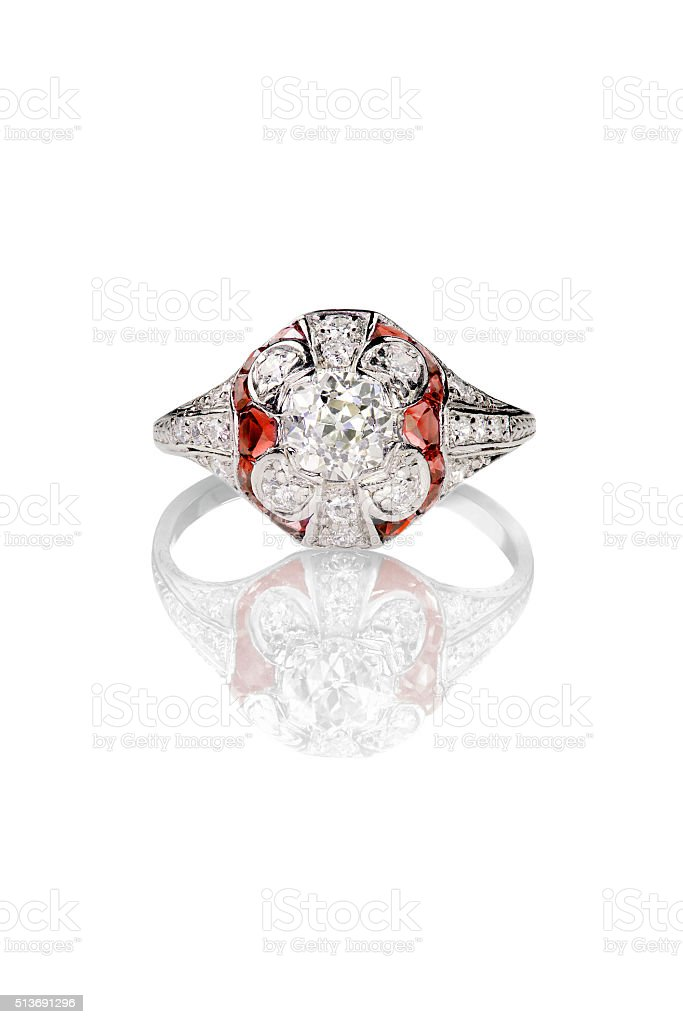 Vintage diamond ring with ruby accents stock photo