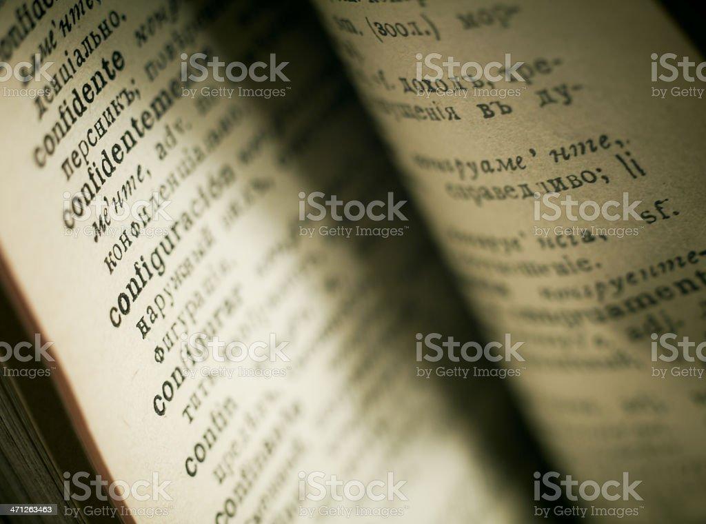 Vintage dictionary, closeup. royalty-free stock photo