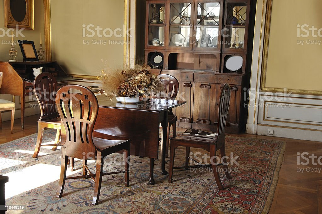 Vintage dining room stock photo