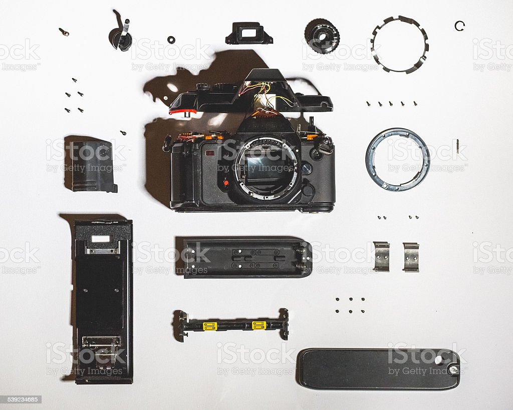 Vintage Disassembled Camera stock photo