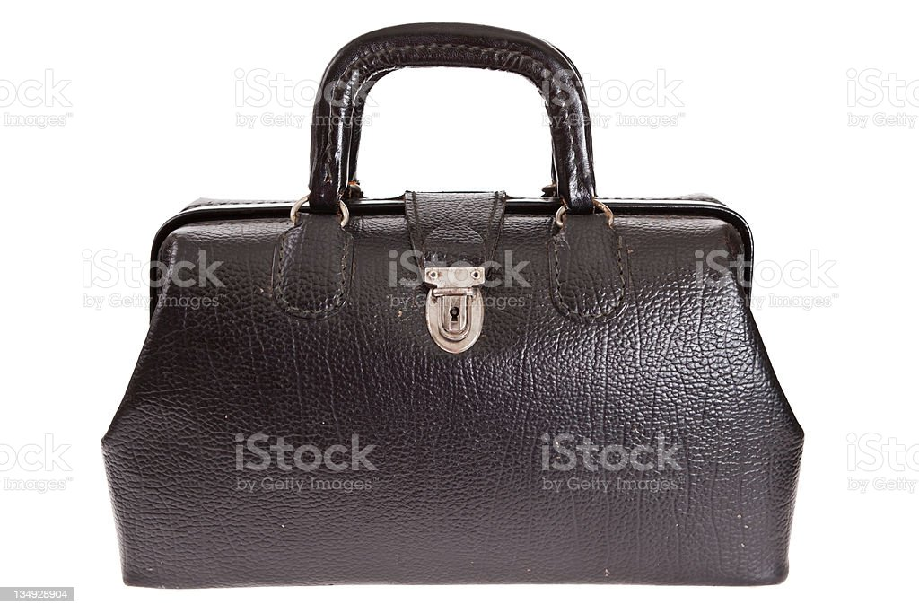 Vintage doctor's bag isolated on white stock photo