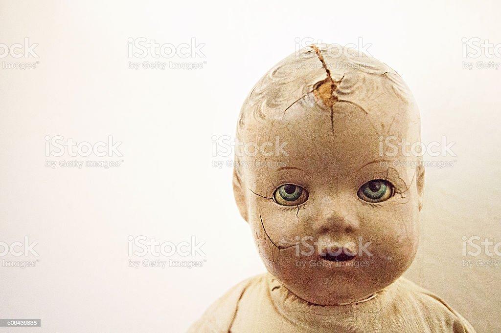 Vintage doll head stock photo