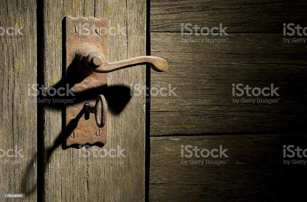 vintage door handle and key royalty-free stock photo