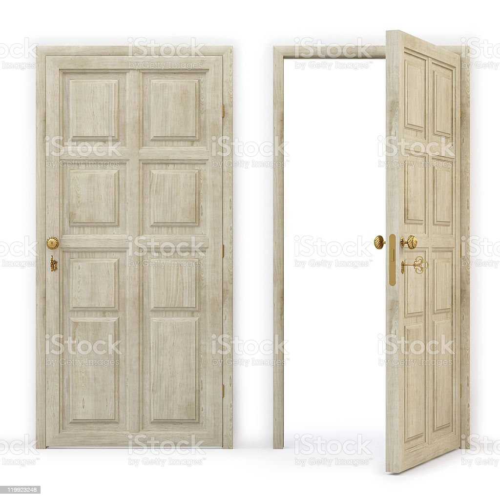2 vintage doors next to each other, one is open stock photo