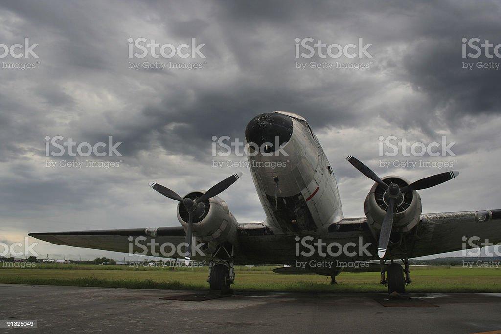 Vintage Douglas DC3 on the ground 02 stock photo