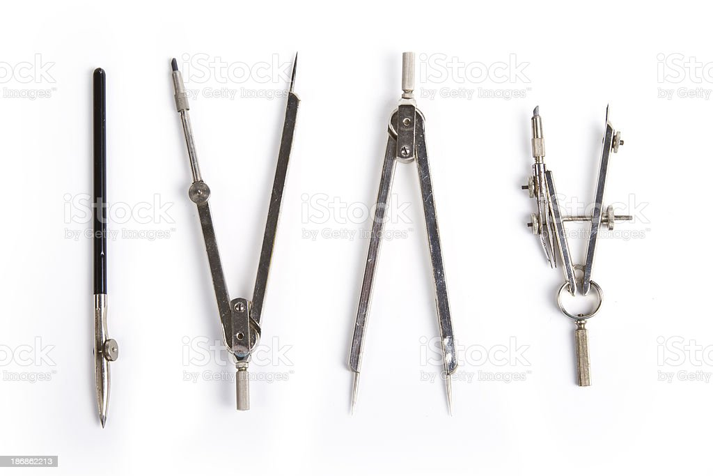 Vintage Drafting Compass Set stock photo