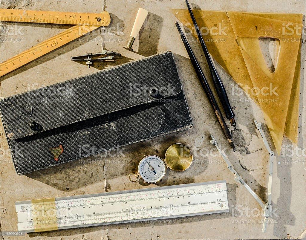 Vintage drafting tools stock photo