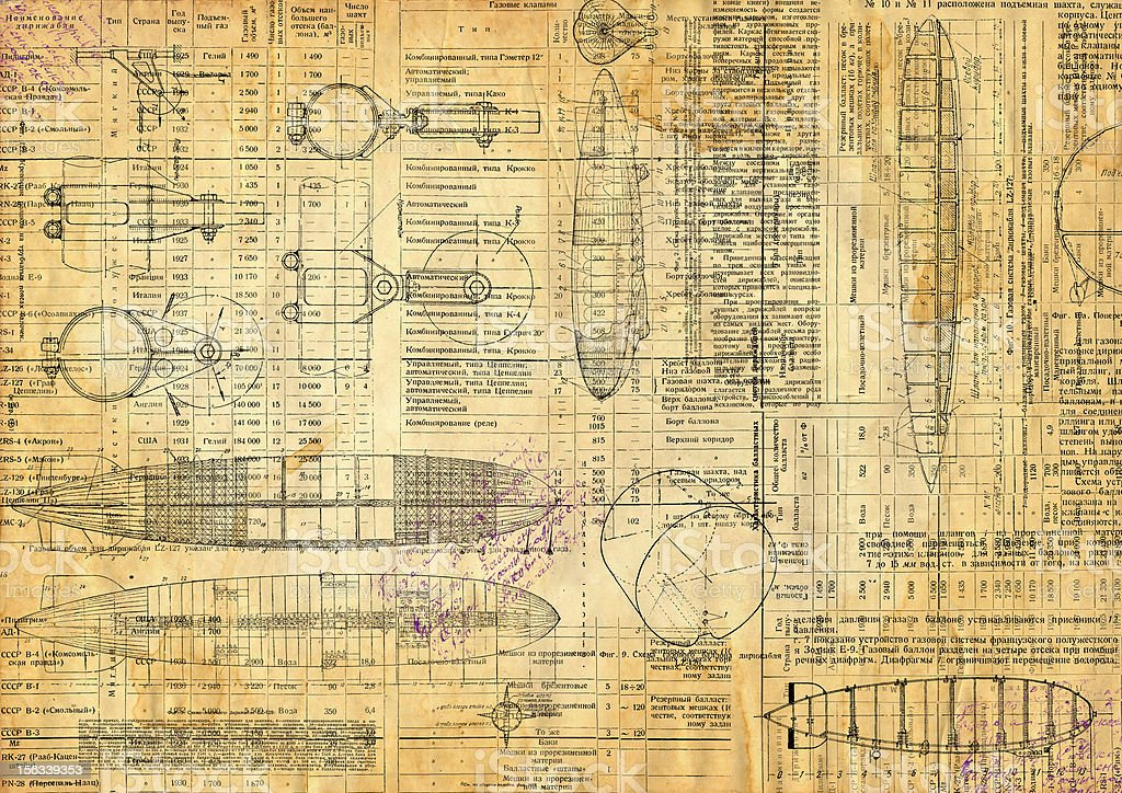 Vintage drawings of airship. Texture stock photo
