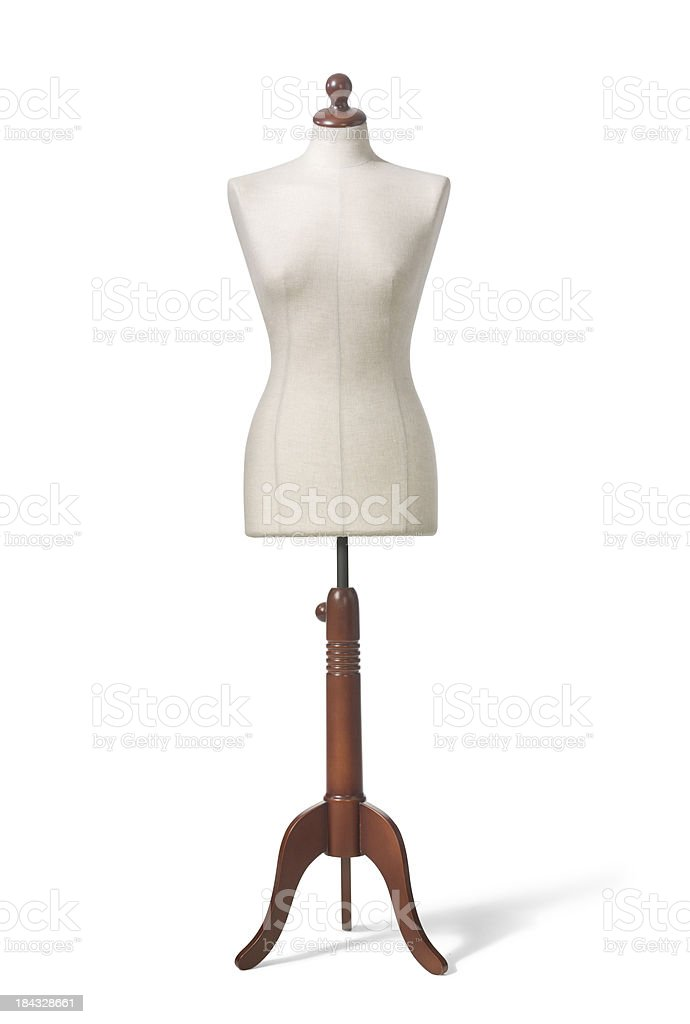 Vintage Dressmaker Form, isolated on withe stock photo