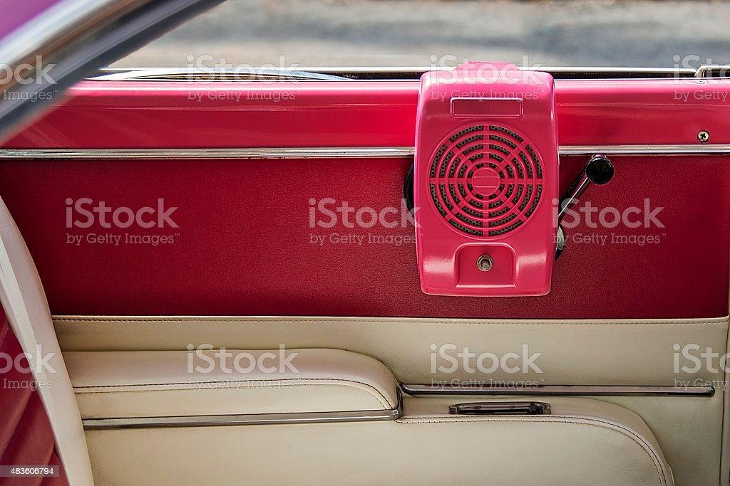 Vintage Drive-In Movie Speaker Inside of Old Car stock photo