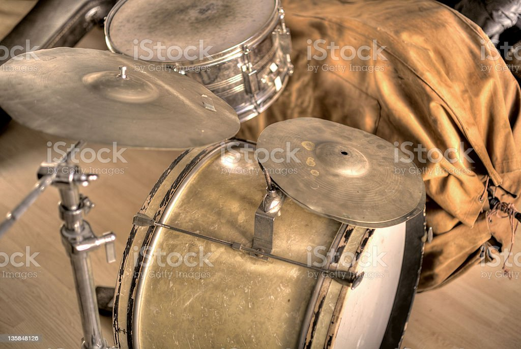 Vintage Drumset on Stage royalty-free stock photo
