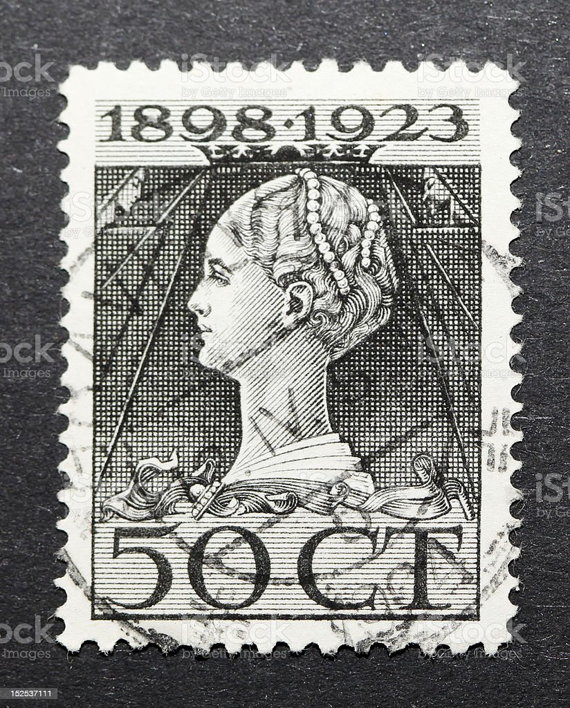 Vintage Dutch postage stamp of 1923 in art nouveau style royalty-free stock photo