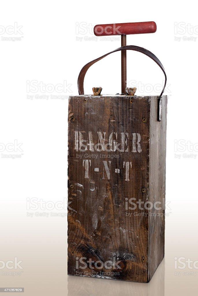 Vintage Dynamite Detonator Plunger Box stock photo