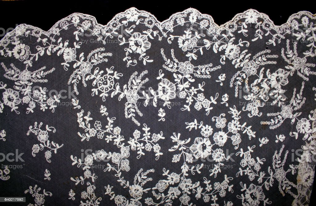 Vintage Edwardian and Victorian White Lace stock photo