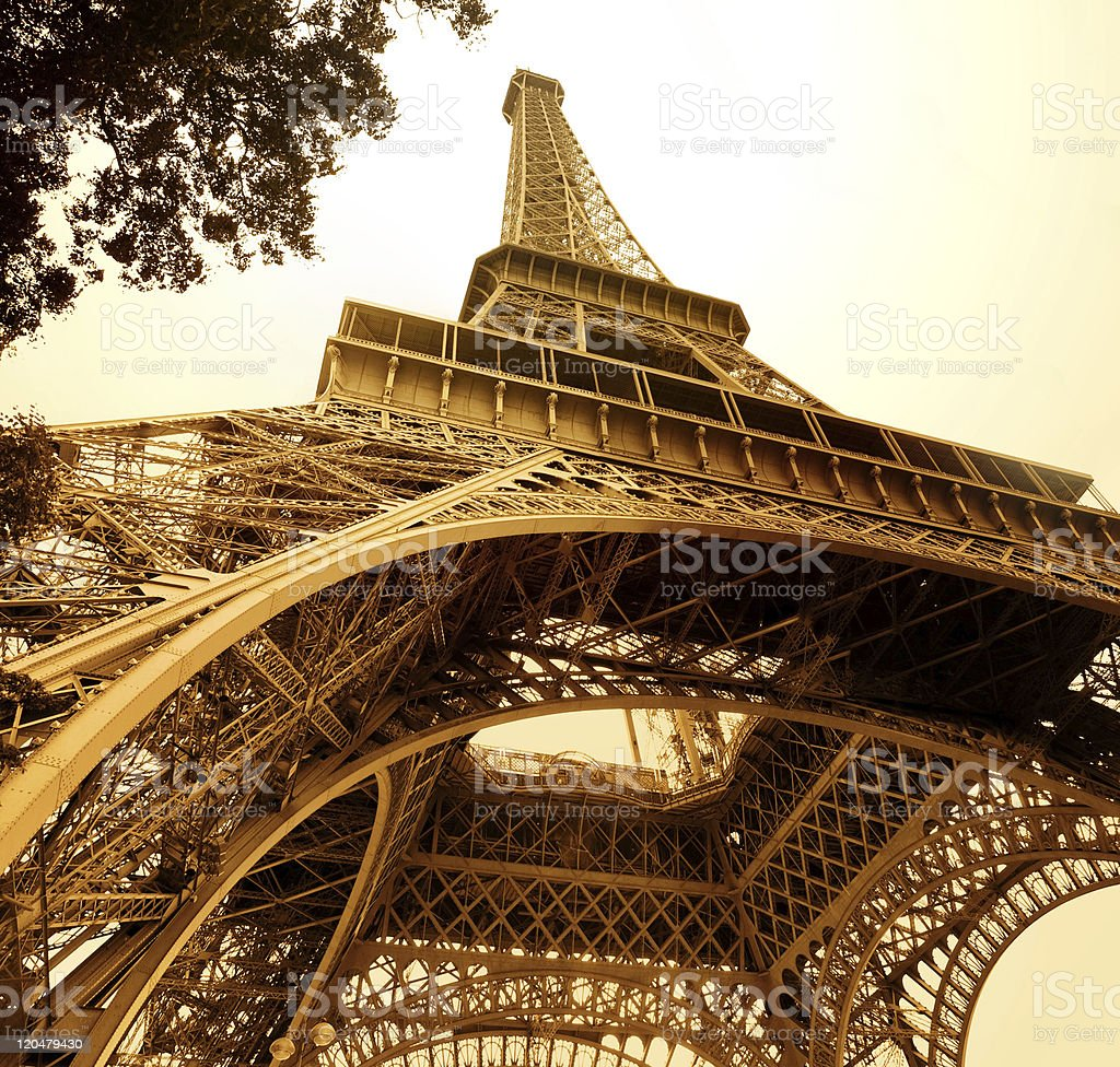 vintage eiffel tower stock photo