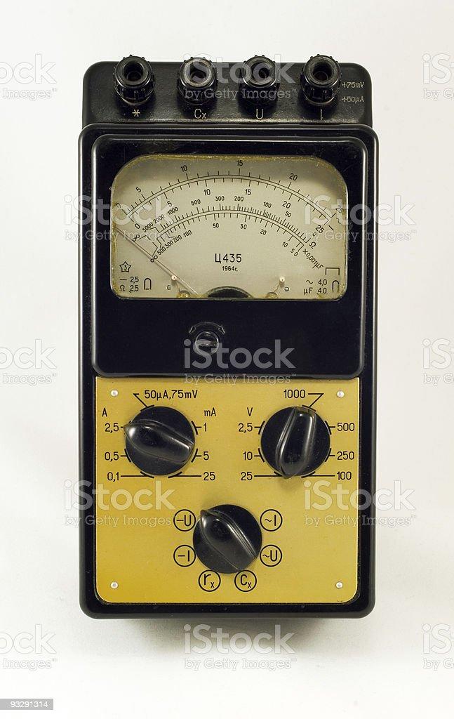 Vintage electric multimeter stock photo