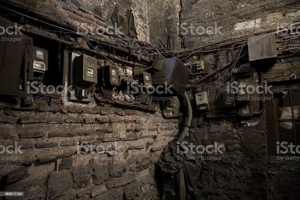Vintage electricity meters stock photo