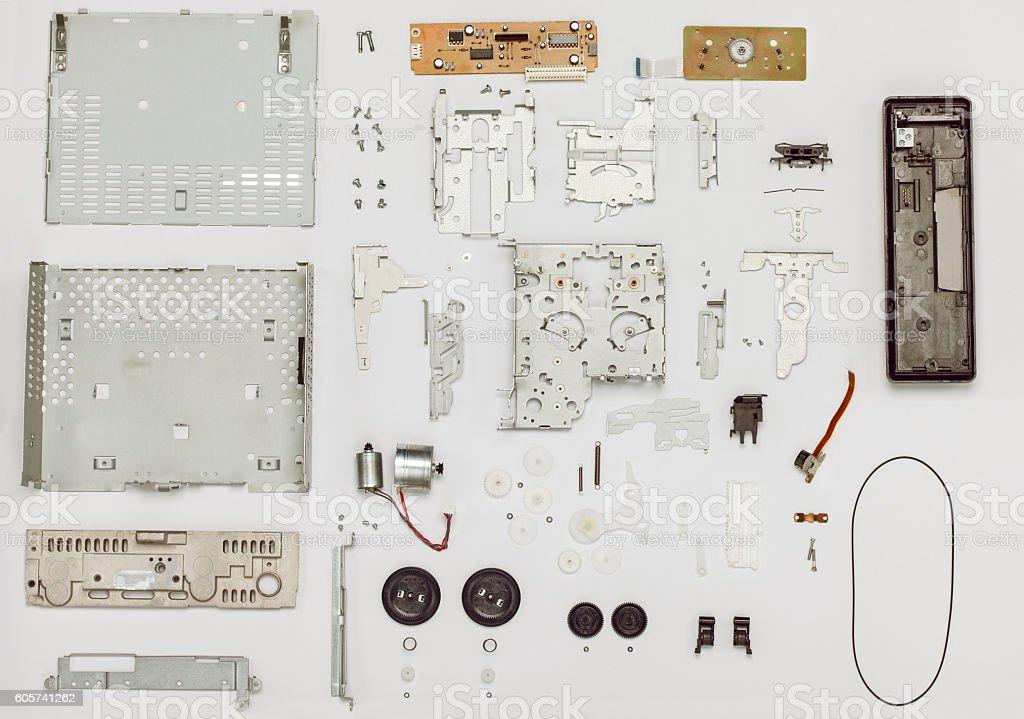 Vintage electronics parts arranged stock photo